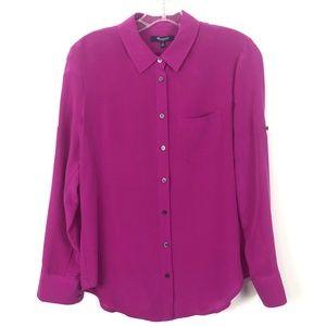 Madewell Alexa Chung Pink Silk Button Down Shirt
